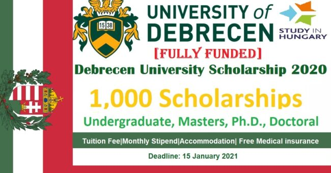 Debrecen University Scholarship 2020 in Hungary Fully Funded BS-MS-PhD