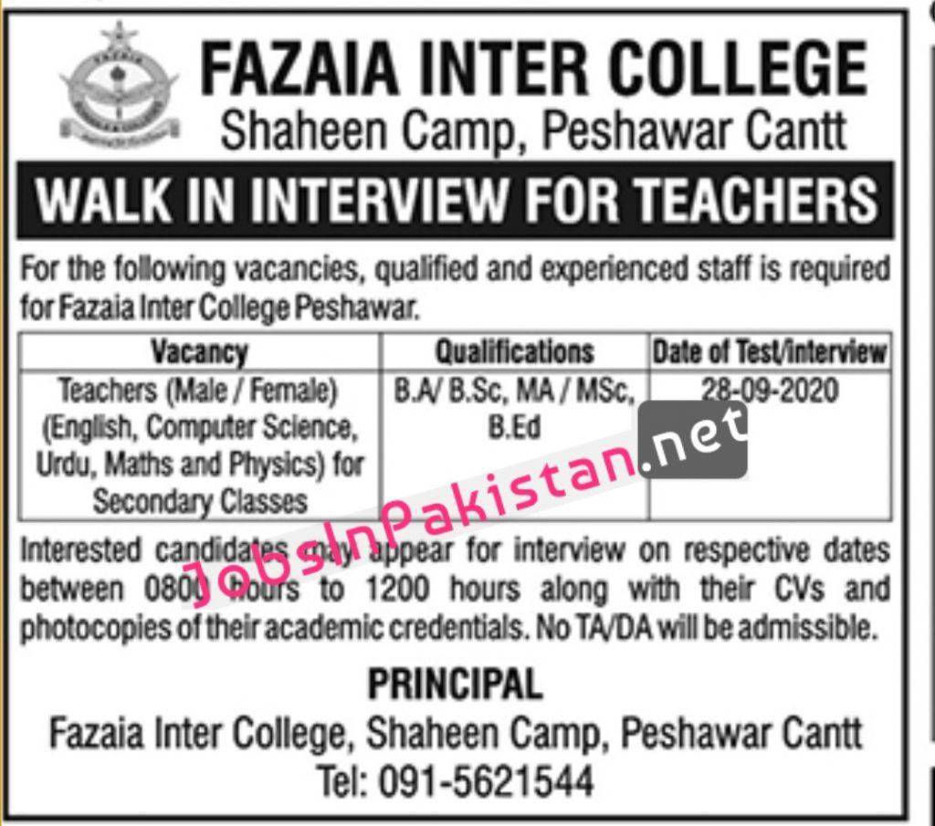 Fazaia inter college jobs 2020 1024x905 1