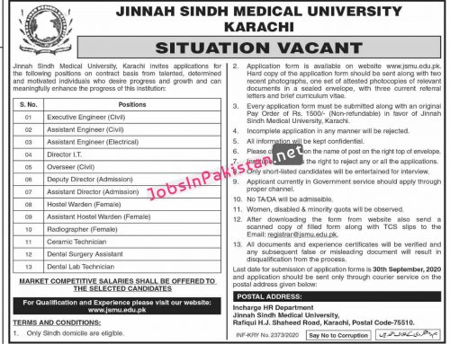 Jobs in Jinnah Sindh Medical University, Karachi