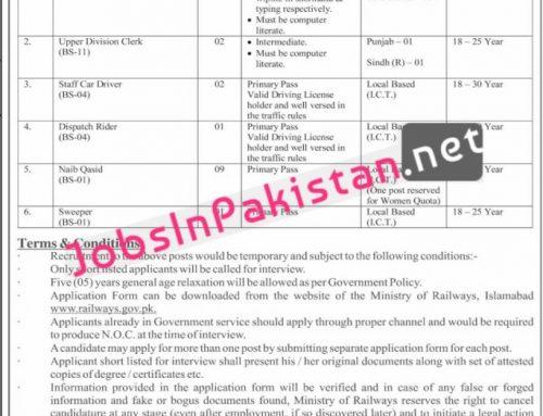 Jobs in Ministry of Railways Islamabad