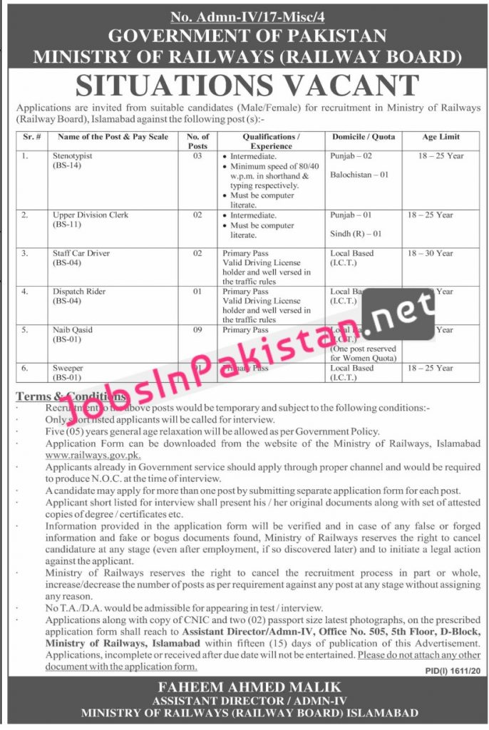 Jobs in Ministry of Railways Islamabad