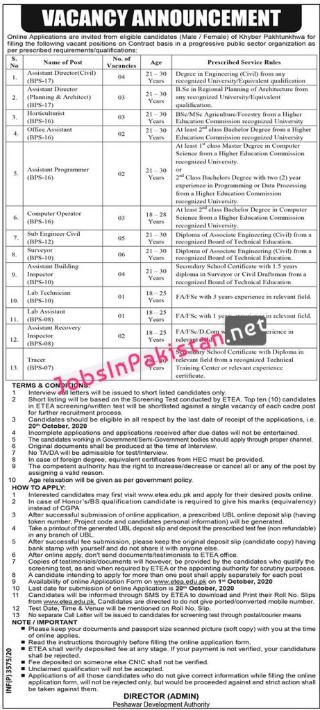 Jobs in Peshawar Development Authority PDA KPK