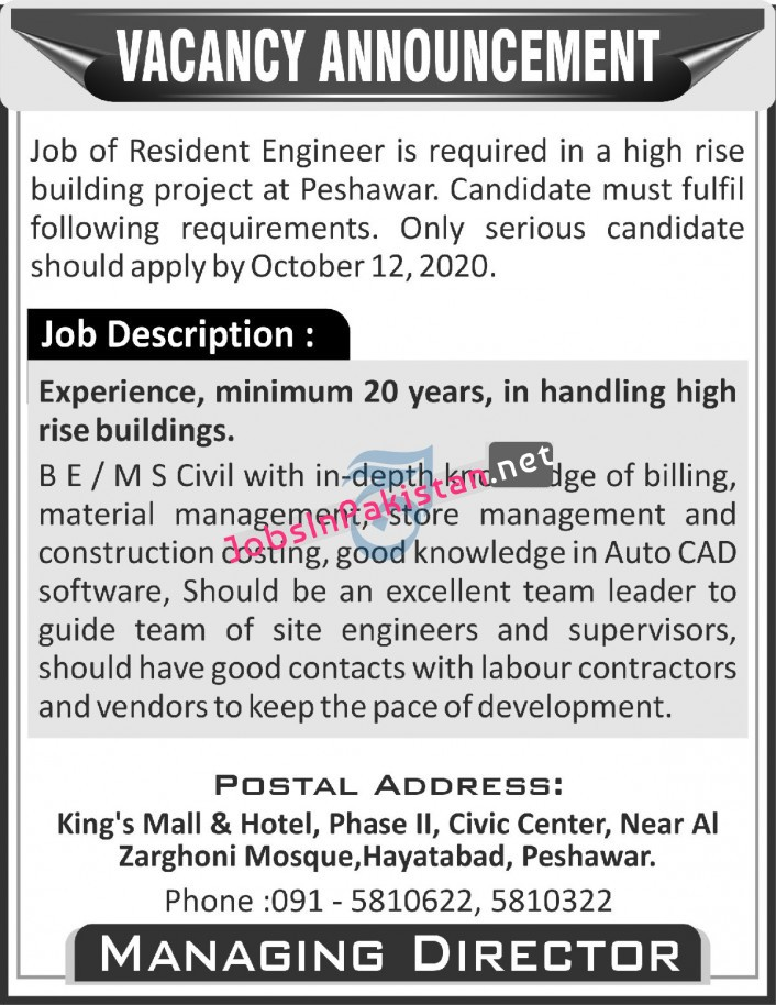 Resident Engineer Required in Peshawar 2020