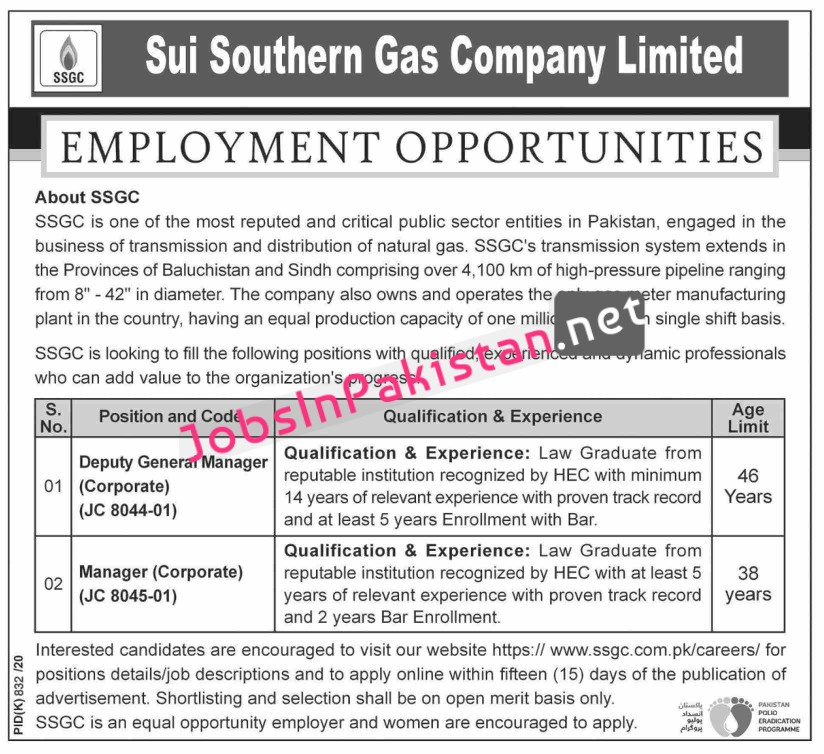 Deputy General Manager, Manager required in Sui Southern Gas Company Limited SSGC