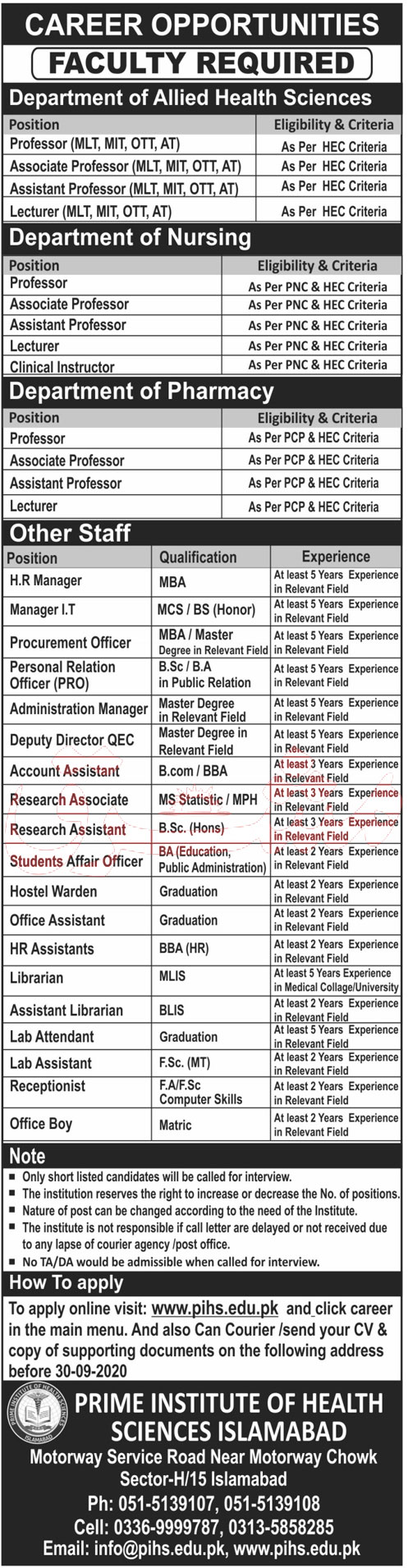 Teaching Faculty Required in Prime Institute of Health Sciences Islamabad