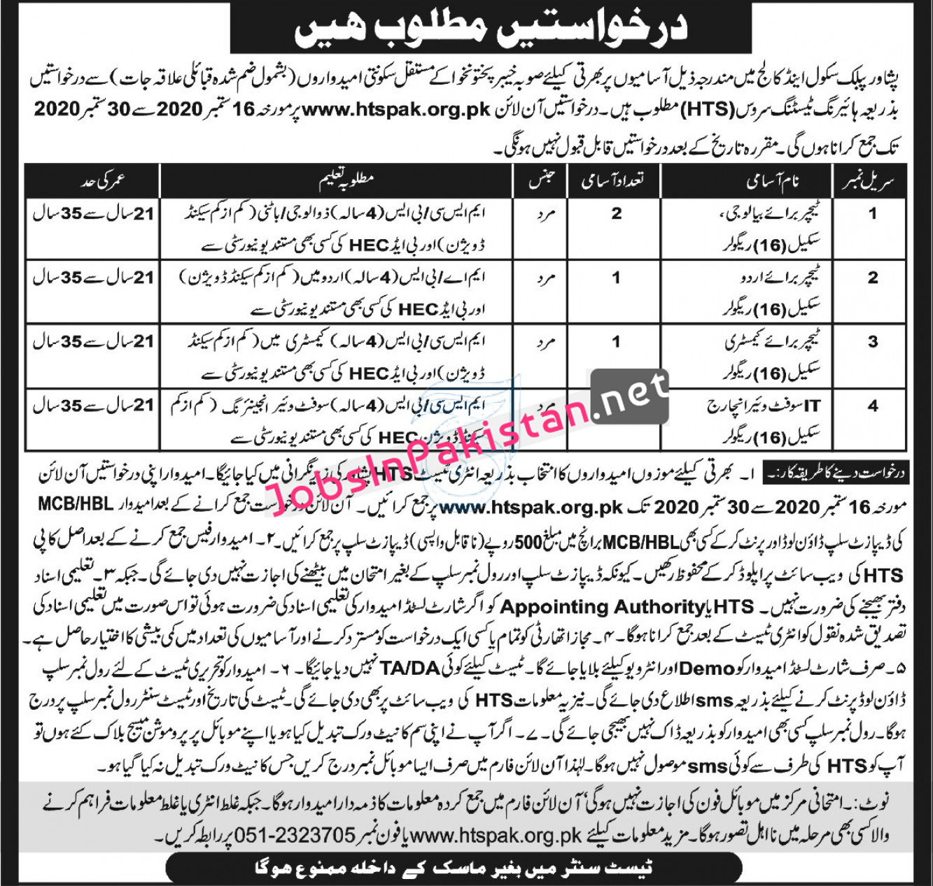 Teaching Staff Required in Peshawar Public School and College Peshawar