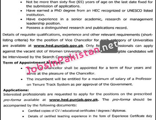 Vice-Chancellors required in Higher Education Department Government of Punjab