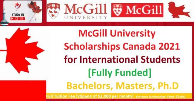 McGill University Scholarships Canada 2021 Fully Funded